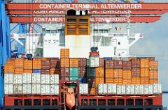 Heck eines Containerfrachters am Hafenkai des HHLA Container Terminals Altenwerder  - das Frachtschiff liegt unter den über die Breite des Schiffs ragenden Containerbrücken. Eine der Stahlkisten wird gerade von der Containerkatze angehoben