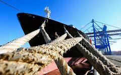 Schiffstaue am Poller am Athabaskakai - Schiffsbug der CAP RICARDA, Containerbrücken im Hintergrund.