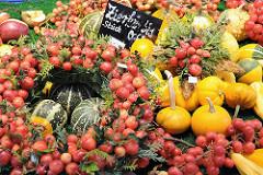 Wochenmarkt Eidelstedter Einkaufscenter Herbstdekoration Zierkürbisse.