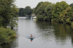 Kanufahrt auf der Doveelbe - Bäume am Ufer des Flusses in Hamburg Reitbrook.
