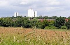 Blick von Hamburg Langenbek zu Hochhäusern Hamburg Wilstorf