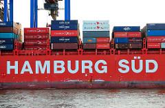 Schriftzug der Reederei Hamburg Süd an der Bordwand der RIO NEGRO am Containerterminal Burchardkai.