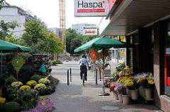 Geschäfte im Einkaufszentrum Niendorf Nord. Blumenladen und Sparkasse.