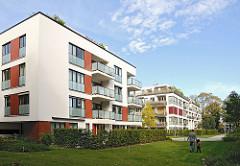 Moderne Neubauten - Wohnhäuser Hagenbeckstrasse, Hamburg Stellingen.