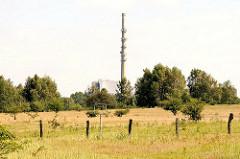 Wiese mit Zaun im Naturschutzgebiet Höltingbaum; 286 Hektar gehören zum Bundesland Schleswig Holstein und 272 Hektar zu Hamburger Gebiet. Im Hintergrund der mit Satellitenschüsseln bestückte Schornstein der Müllverbrennungsanlage Stapelfeld.