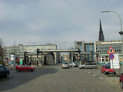 Zollübergang an der Brooksbrücke am Zollkanal der Hamburger Speicherstadt. Im Hintergrund Spitze des Kirchturms der St. Nikolaikirche.