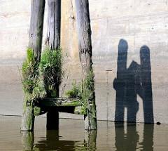 Alte mit Grünpflanzen bewachsene Holzdalben an der Norderelbe bei der Einfahrt zum Haken und dem Billhafen.