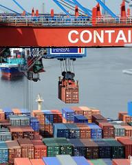 Containerbrücke Container über dem Frachtschiff Hamburg Altenwerder