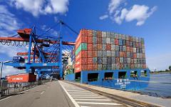 HHLA Containerterminal Hamburg Altenwerder - Containerbrücken, Containerschiff.