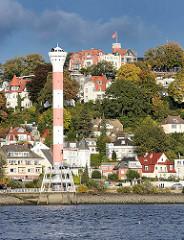 Leuchtturm in Hamburg  Blankenese - im Hintergrund der Süllberg; Wohnhäuser am Berg.