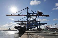 Container Terminal Altenwerder, Hamburger Hafen - Containerbrücken, Containerfrachter