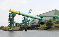 Verladeeinrichtung für Schüttgut am Ufer des Reiherstiegs in Hamburg Wilhelmsburg - Rohre führen vom Ponton im Wasser zur Lagerhalle.