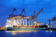 Containerschiff am Kai in der Blauen Stunde - Nachtfotos aus dem Hamburger Hafen.