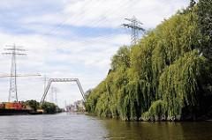 Weiden am Ufer des Neuhöfer Kanals in Hamburg Wilhelmsburg - hochgelegte Leitung über den Kanal, damit Schiffe passieren können.