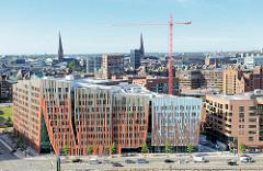 Luftaufnahme Hafencity Hamburg - Blick zum Sumatrakontor - Architektur Erick van Egeraat.