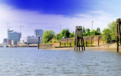 Blick aus dem Moldauhafen über die Norderelbe zur Hafencity - Bilder aus dem Hafen Hamburgs, Stadtteil Kleiner Grasbrook.