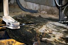 Das Sägeblatt der Blockbandsäge besäumt den Holzstamm für den Aufschnitt - Vorbereitungsarbeiten für den Bau des Vierländer Gemüse Ewers im Harburger Hafen.