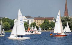 Segelboote auf der Aussenalster - Freizeitvergnügen in der Hansestadt Hamburg.