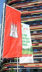 Flagge der Hansestadt Hamburg - Fahne IGS 2013 - In 80 Gärten um die Welt.