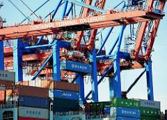 Containerladung an Bord eines Frachters - Container unter der Containerbrücke Terminal Tollerort im Hamburger Hafen.