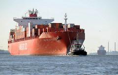 Containerschiff RIO DE LA PLATA der Reederei Hamburg-Süd; der Frachter hat eine Länge von 286,50m und kann 5905 TEU Container transportieren.
