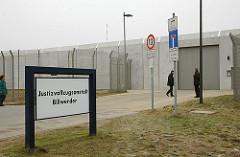 Eingang Schild Justizvollzugsanstalt Billwerder.