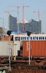 Containerzug auf dem Güterbahnhof Kleiner Grasbrook - Baustelle mit Baukränen der Alphilharmonie in der Hafencity.