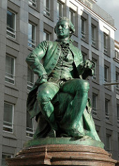 Bronzeskulptur am Gaensemarkt - Lessing Denkmal, Gotthold Ephraim Lessing Skulptur, Bildhauer Fritz Schaper.