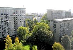 Blick über die Grindelhochhäuser in Hamburg Harvestehude, Bezirk Eimsbüttel.