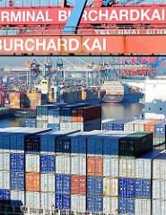 Blick über die hoch aufgestapelten Container an Deck der CMA CGM Christophe Colomb - Blick über den Waltershofer Hafen, Containerbrücken des HHLA Terminals Burchardkai.