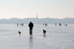Spaziergänger mit Hund auf dem Alstereis. Kirchturm der St. Georgkirche am anderen Alsterufer.