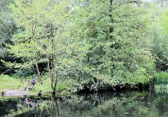 Bäume wachsen bis dicht an das Ufer des Raakmoorteichs im Naturschutzgebiet Raakmoor im Hamburger Stadtteil Hummelsbüttel.