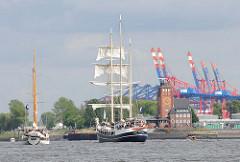 Blick auf die Elbe bei Hamburg Finkenwerder. Containerbrücken des Eurogate Terminals im Waltershofer Hafen.