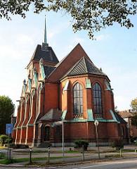 Friedenskirche in HH-Eilbek - Entwurf Johannes Otzen, eingeweiht 1885 - gotischer Baustil.