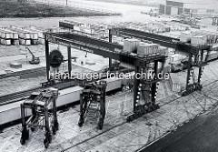 Hamburger Containerbahnhof am Burchardkai - Containerzug / Güterzug unter Containerbrücken, Portalhubwagen; die Anlage ist noch in Bau. ( 1972 )