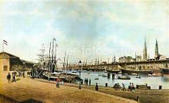 Dampfschiffe und Frachtsegler liegen am Kaiserkai und Sandtorkai des Hamburger Sandtorhafens. Mit einem Dampfkran wird die Ladung eines Schiffs gelöscht; Waren sind in den offenen Kaischuppen gestapelt.  (1866)