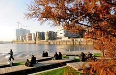 Abendstimmung im Herbst in der Hamburger Hafencity auf der Marco-Polo-Terasse am Grasbrookhafen; re. die moderne Wohnbebauung am Dalmannkai - im Hintergrund die Baustelle der Elbphilharmonie.