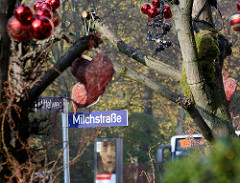 Strassenschild Milchstrasse, Mittelweg in Hamburg Rotherbaum / Pöseldorf; Weihnachtsdekoration.