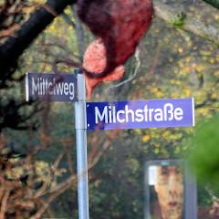 Strassenschild Milchstrasse, Mittelweg in Hamburg Rotherbaum / Pöseldorf.