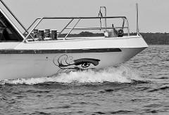 Bug eines Ausflugschiffs auf dem Fleesensee, Teil der Müritz-Elde-Wasserstrasse. Ein Auge ist auf die Bordwand gemalt, Gischt spritzt durch die schnelle Fahrt des Ausflugsdampfers.