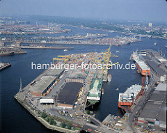 Luftaufnahme vom Kaiser-Wilhelmhafen und dem Ellerholzhafen - im Hintergrund der Rosshafen, Kohleschiffhafen und der Köhlbrand.  ( ca. 1996 )