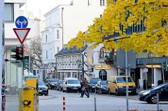 Blick über den Mittelweg in die Milchstrasse in Hamburg Rotherbaum / Pöseldorf - Herbstlaub eines Ginkobaums.