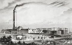 Aus dem hohen Schornstein der Grasbrooker Gasanstalt steig schwarzer Qualm; ein hochbeladenes Pferdfuhrwerk, dessen Ladung mit einer Plane abgedeckt ist und eine Kutsche fahren auf der Harburger Chaussee.  ( ca. 1860 )