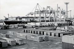 Containerlagerung auf dem Hamburger Container Terminal Burchardkai - Containerfrachter Melbourne Express unter den Containerbrücken. ( 1970 )