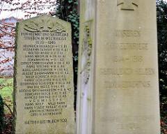 Gedenkstätte beider Weltkriege in Quickborn, Ortsteil Renzel - Inschrift Gedenkstein II. Weltkrieg: Für Heimat und Vaterland starben im Weltkriege 1939 - 1945... Getreu bis in den Tod.