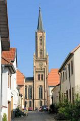 Kirchturm der Stadtkirche von Fürstenberg (Havel); erbaut 1845 - Architekt  Friedrich Wilhelm Buttel.