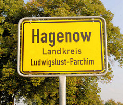 Ortsschild Hagenow, Landkreis Ludwigslust-Parchim.