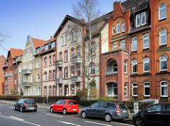 Mehrstöckige Wohnhäuser, Architektur der Gründerzeit - Architekturbilder der Hansestadt Lüneburg.