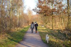 SpaziergängerInnen mit Hunden - Wanderweg im Naturzschutzgebiet Lütt Moor in Henstedt Ulzburg.