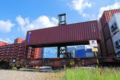 Ein Schwerlaststabler / Gabelstabler transportiert einen Container vom Containerlager zum Güterzug. Langsam wird der Container auf den Flachwagen.